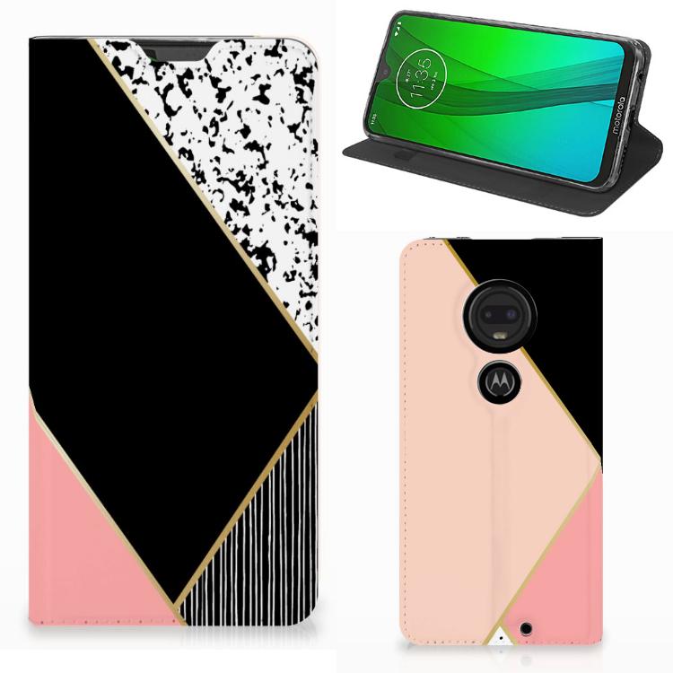 Motorola Moto G7 | G7 Plus Stand Case Zwart Roze Vormen