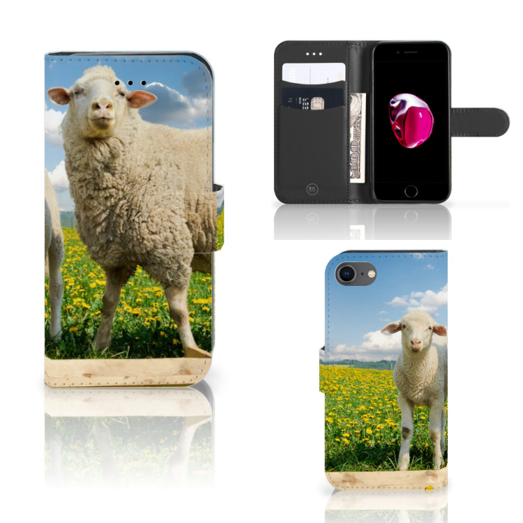 iPhone 7 | 8 | SE (2020) Telefoonhoesje met Pasjes Schaap en Lammetje