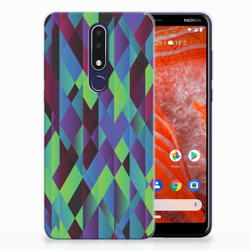 Nokia 3.1 Plus TPU Hoesje Abstract Green Blue