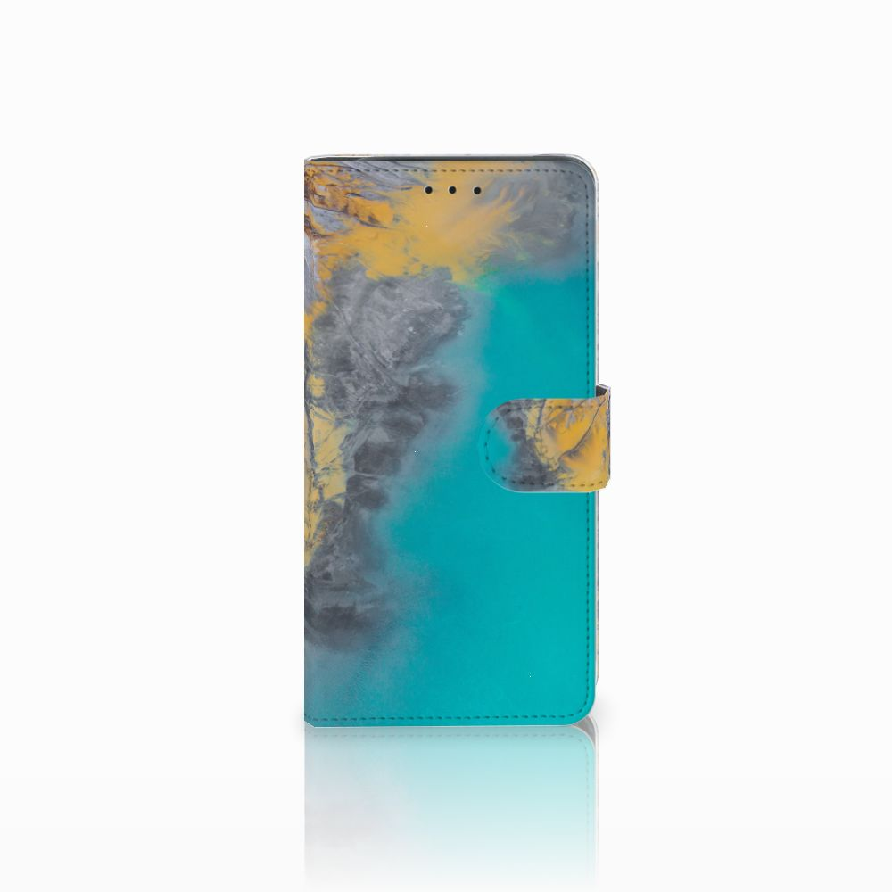 Samsung Galaxy J6 Plus (2018) Bookcase Marble Blue Gold