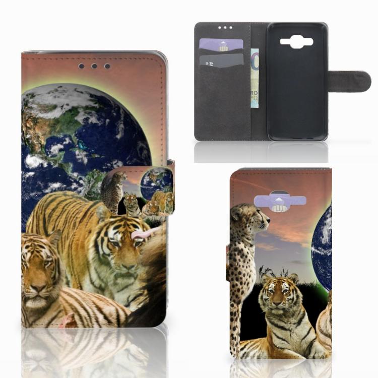 Samsung Galaxy J5 (2015) Telefoonhoesje met Pasjes Roofdieren