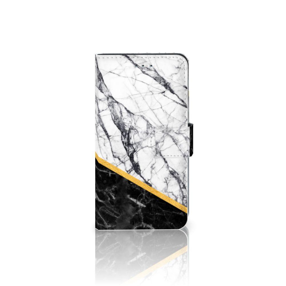 Samsung Galaxy J4 2018 Uniek Boekhoesje Marble White Black