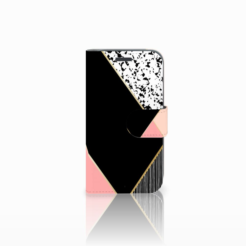 Samsung Galaxy J1 2016 Boekhoesje Black Pink Shapes
