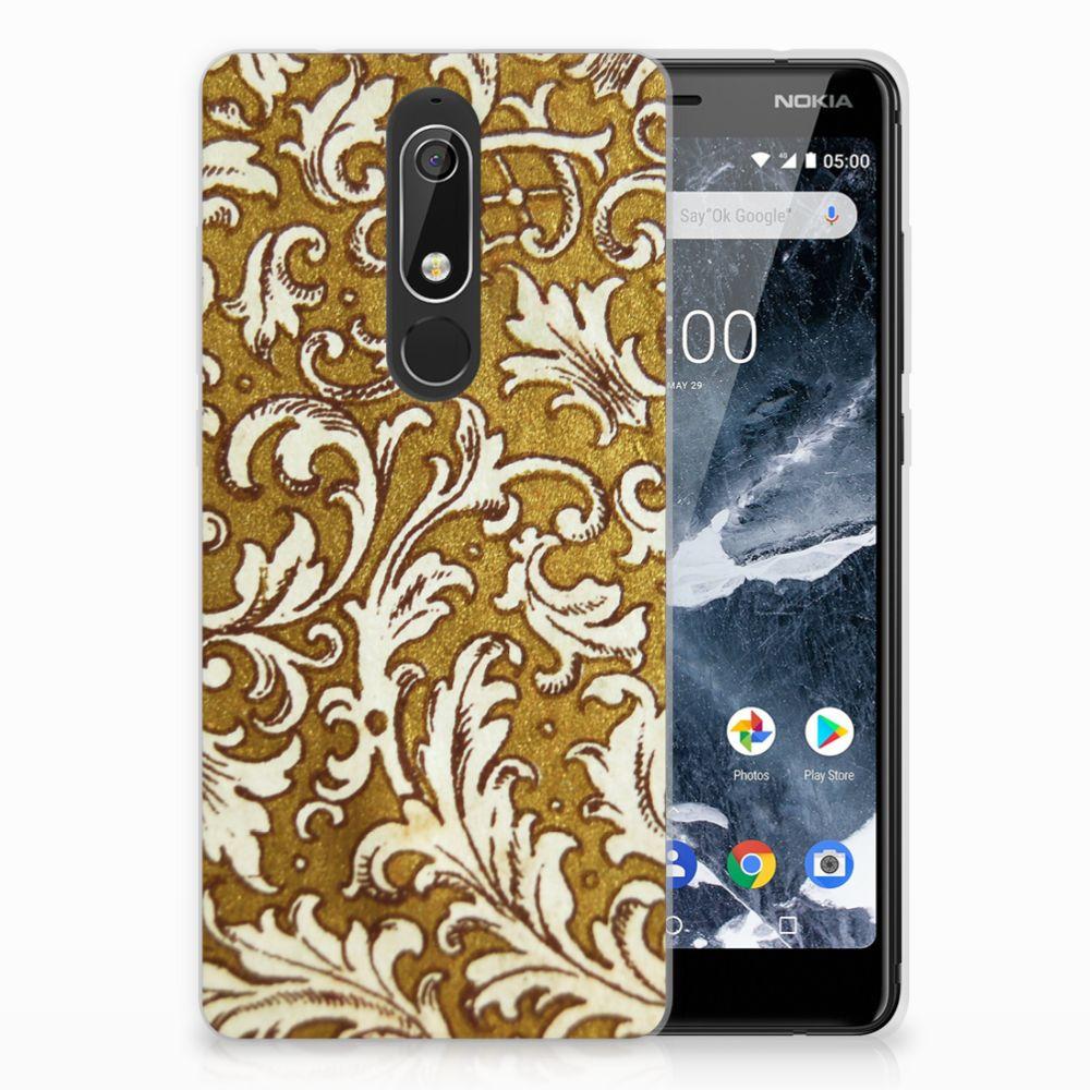 Nokia 5.1 (2018) TPU Hoesje Design Barok Goud