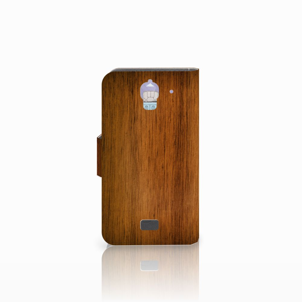Huawei Y360 Book Style Case Donker Hout