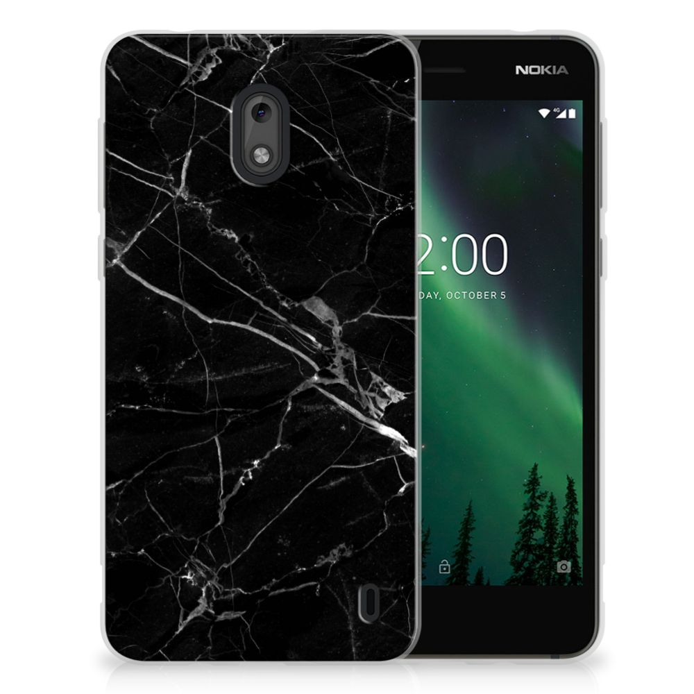 Nokia 2 TPU Siliconen Hoesje Marmer Zwart