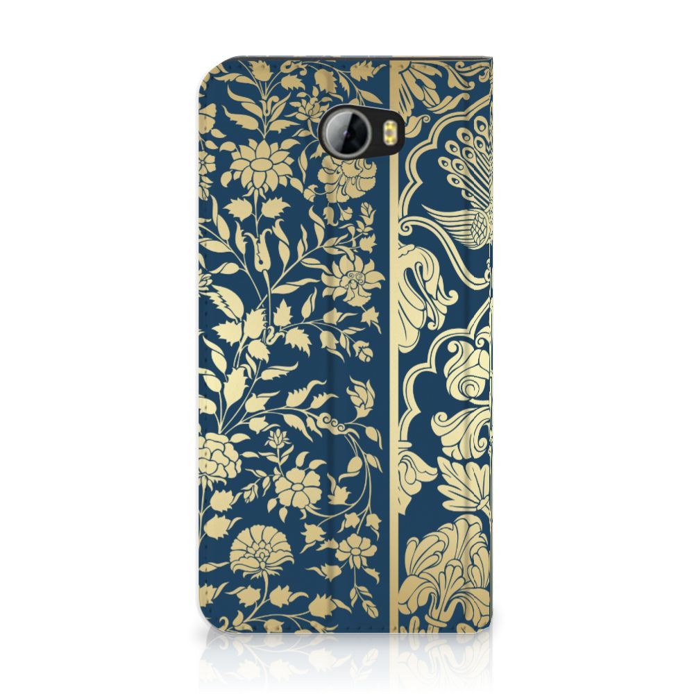 Huawei Y5 2   Y6 Compact Standcase Hoesje Golden Flowers