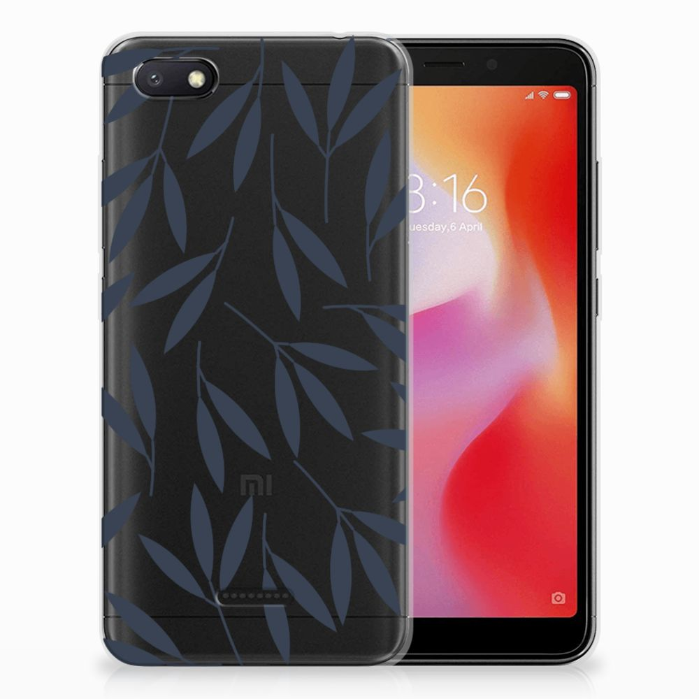 Xiaomi Redmi 6A TPU Hoesje Design Leaves Blue