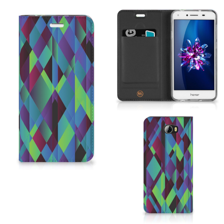 Huawei Y5 2 | Y6 Compact Stand Case Abstract Green Blue