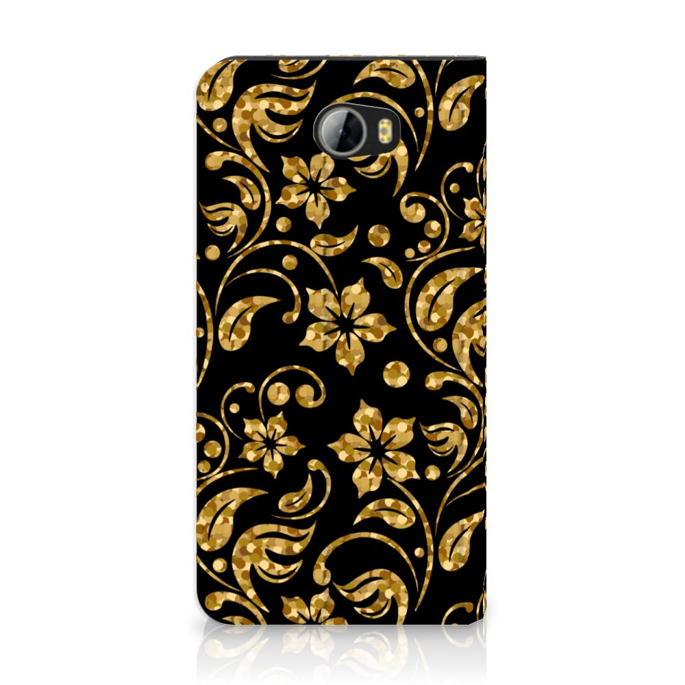 Huawei Y5 2   Y6 Compact Standcase Hoesje Design Gouden Bloemen