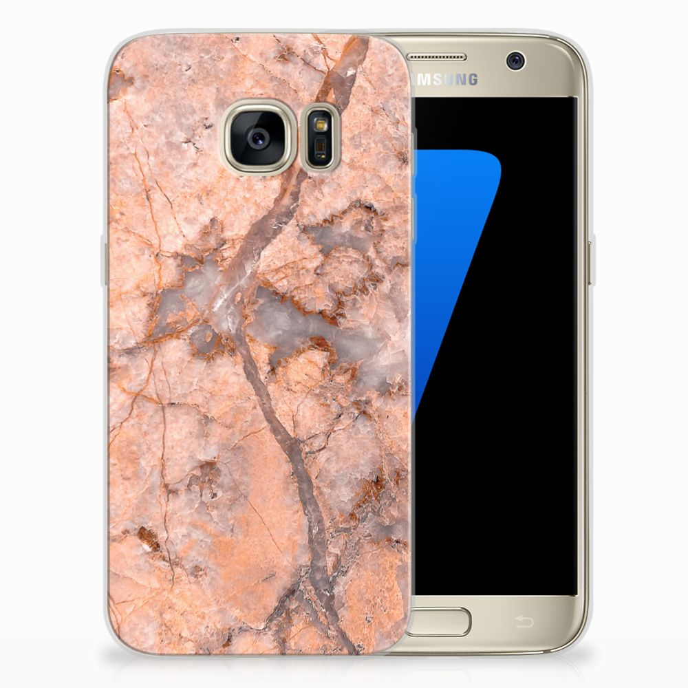 Samsung Galaxy S7 TPU Hoesje Design Marmer Oranje