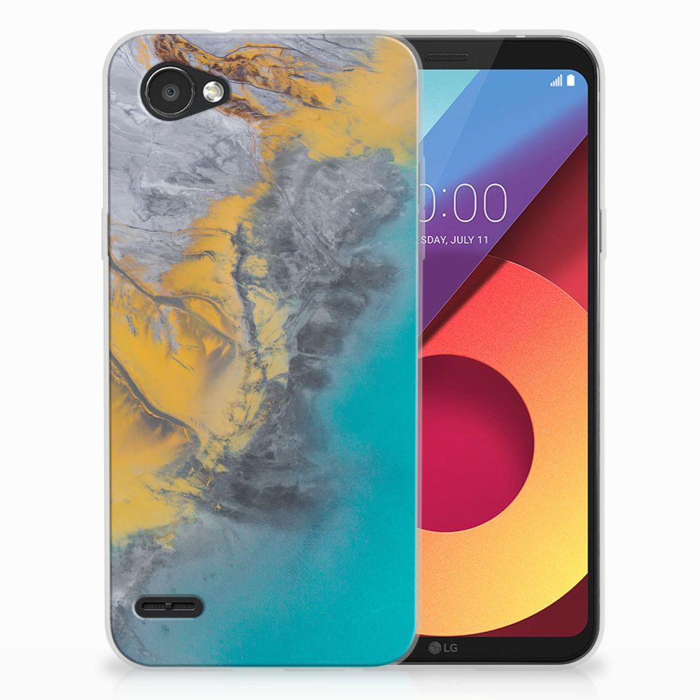 LG Q6 | LG Q6 Plus TPU Hoesje Design Marble Blue Gold