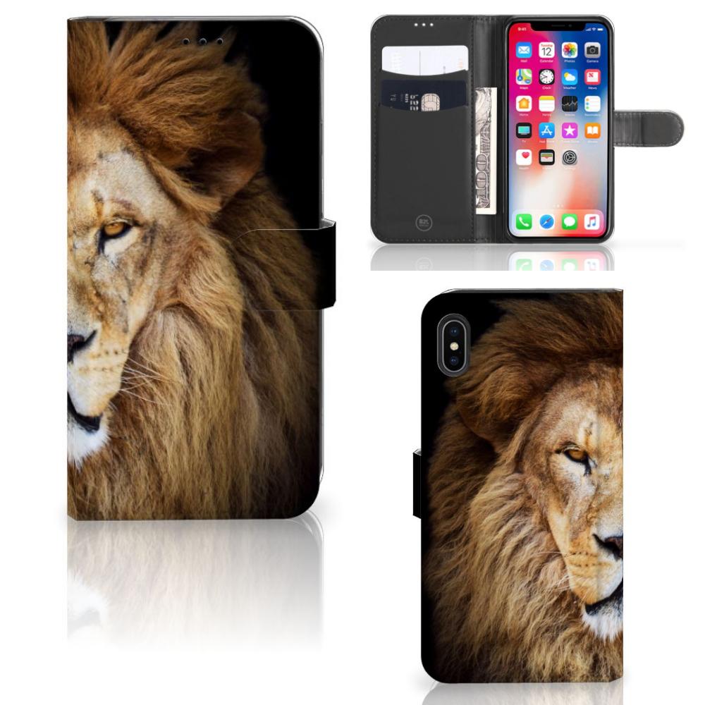 Apple iPhone Xs Max Telefoonhoesje met Pasjes Leeuw