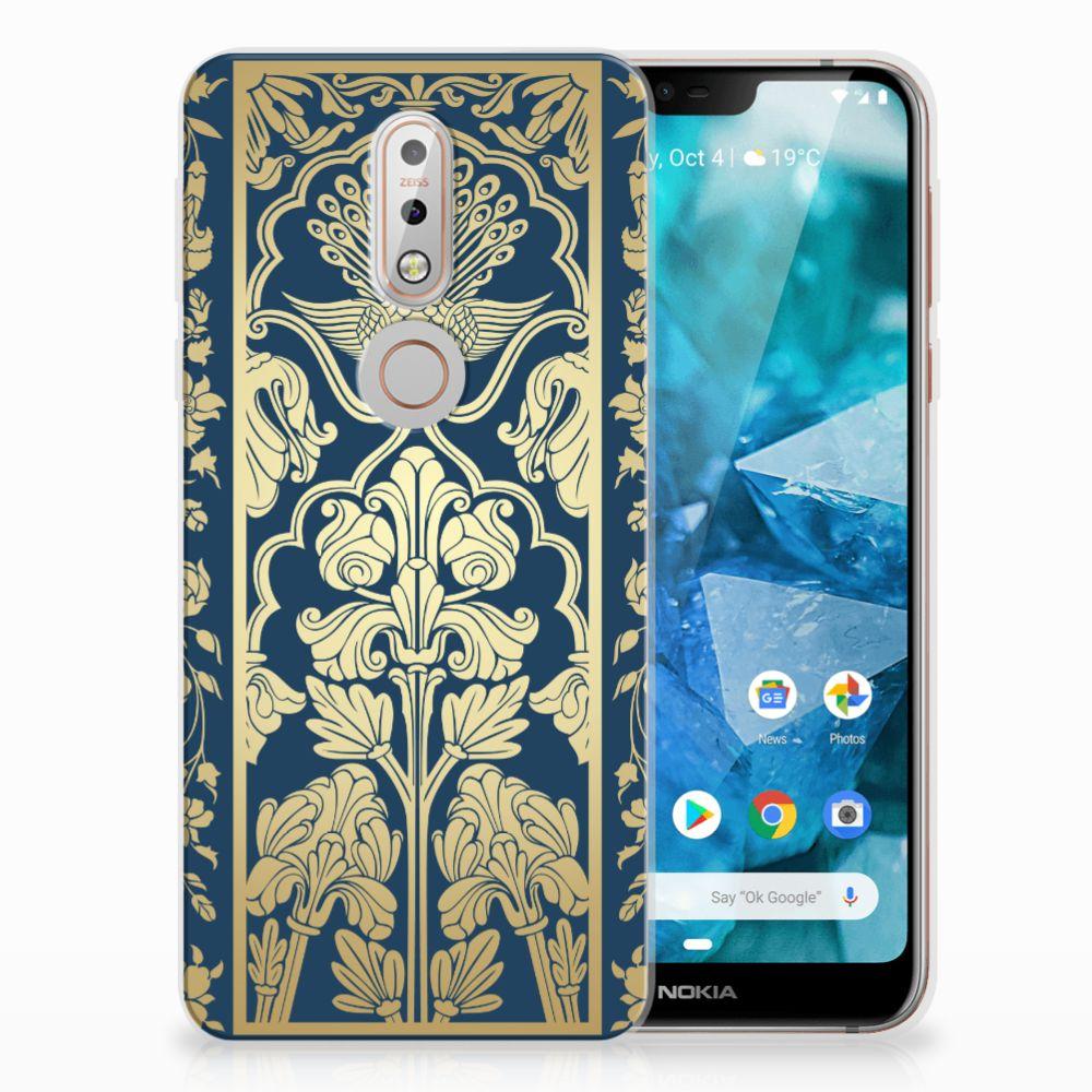 Nokia 7.1 TPU Hoesje Golden Flowers