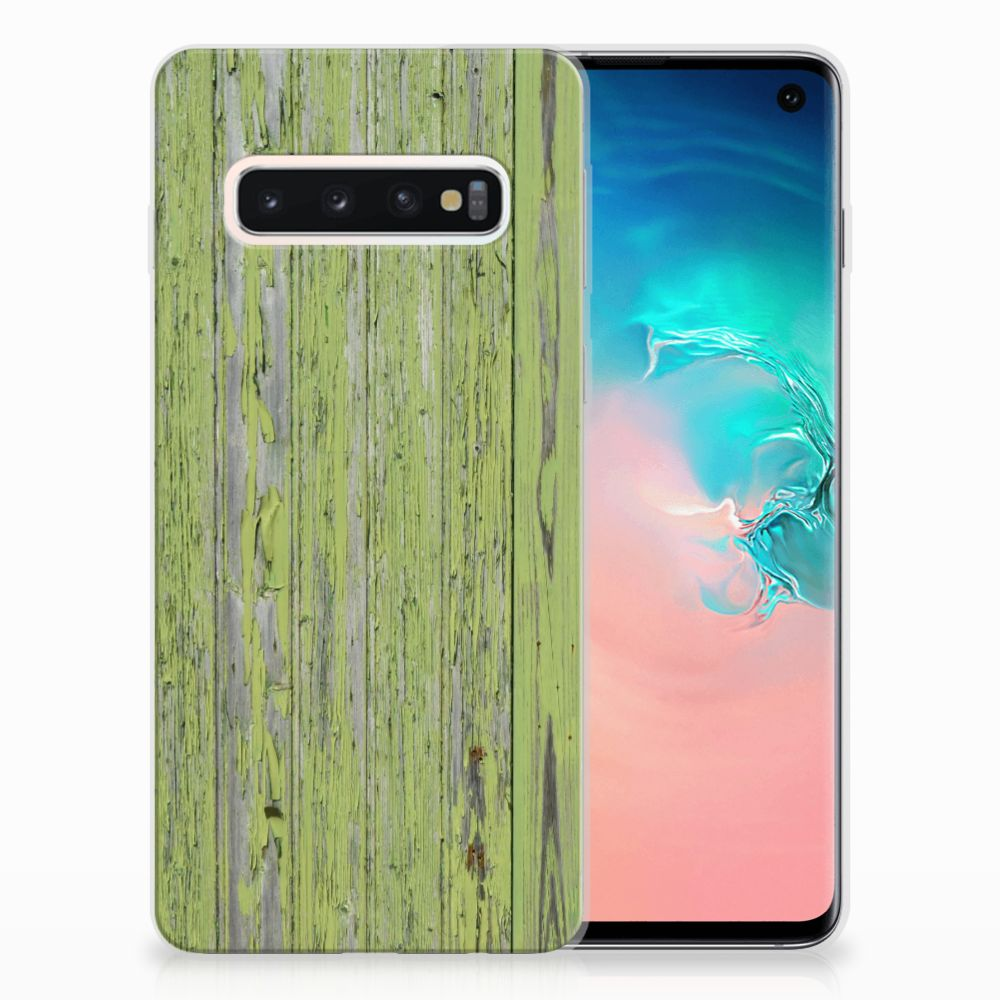 Samsung Galaxy S10 TPU Hoesje Design Green Wood