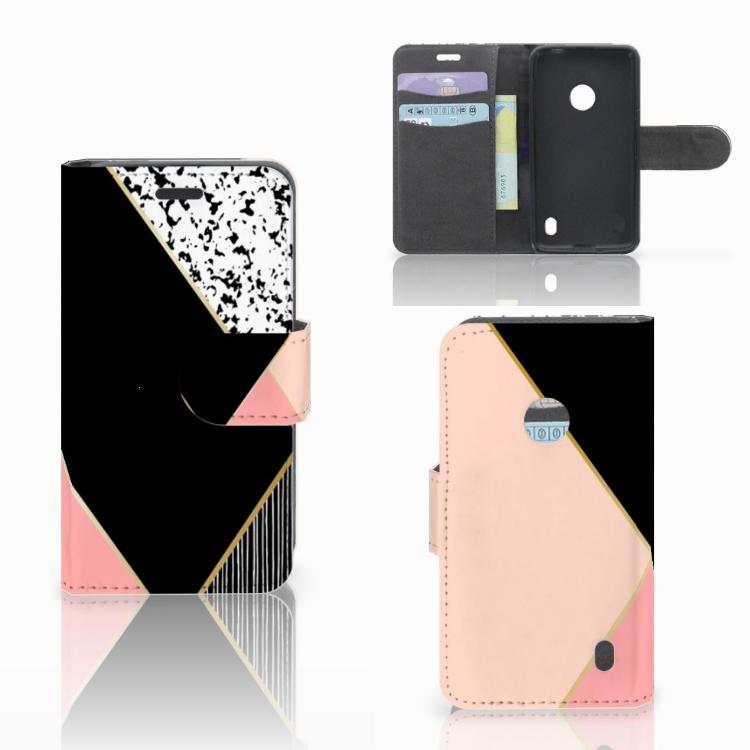Nokia Lumia 520 Bookcase Zwart Roze Vormen