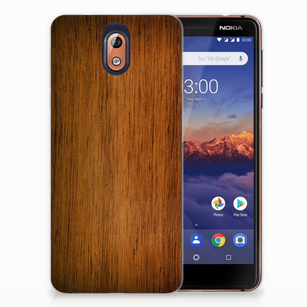 Nokia 3.1 (2018) Uniek TPU Hoesje Donker Hout