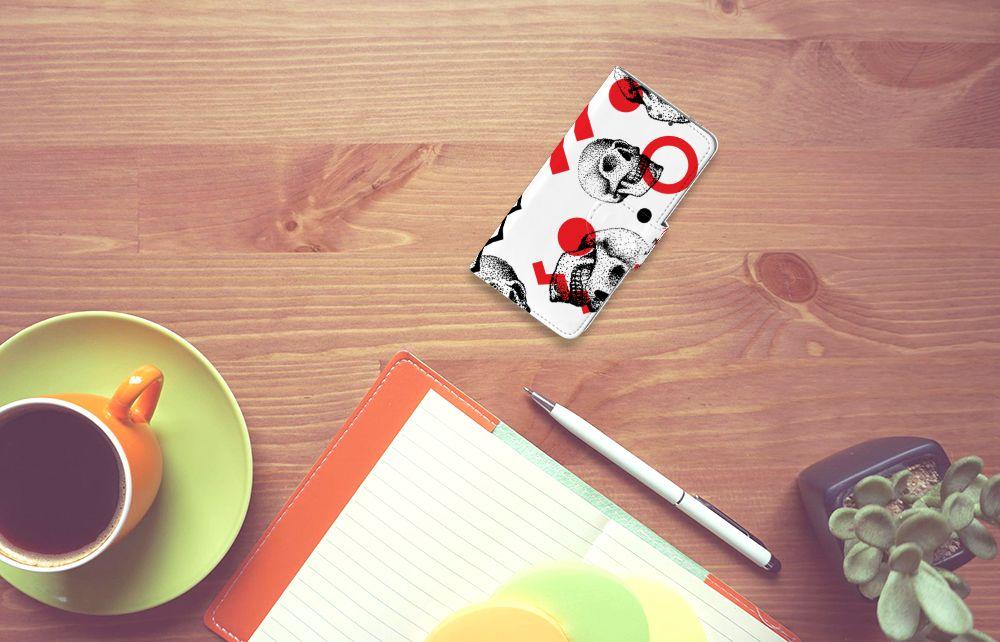 Samsung Galaxy A3 2015 Boekhoesje Design Skull Red