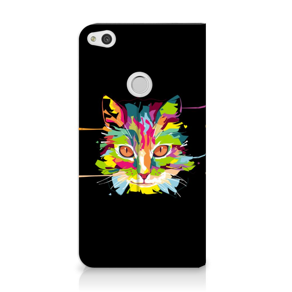 Huawei P8 Lite 2017 Uniek Standcase Hoesje Cat Color