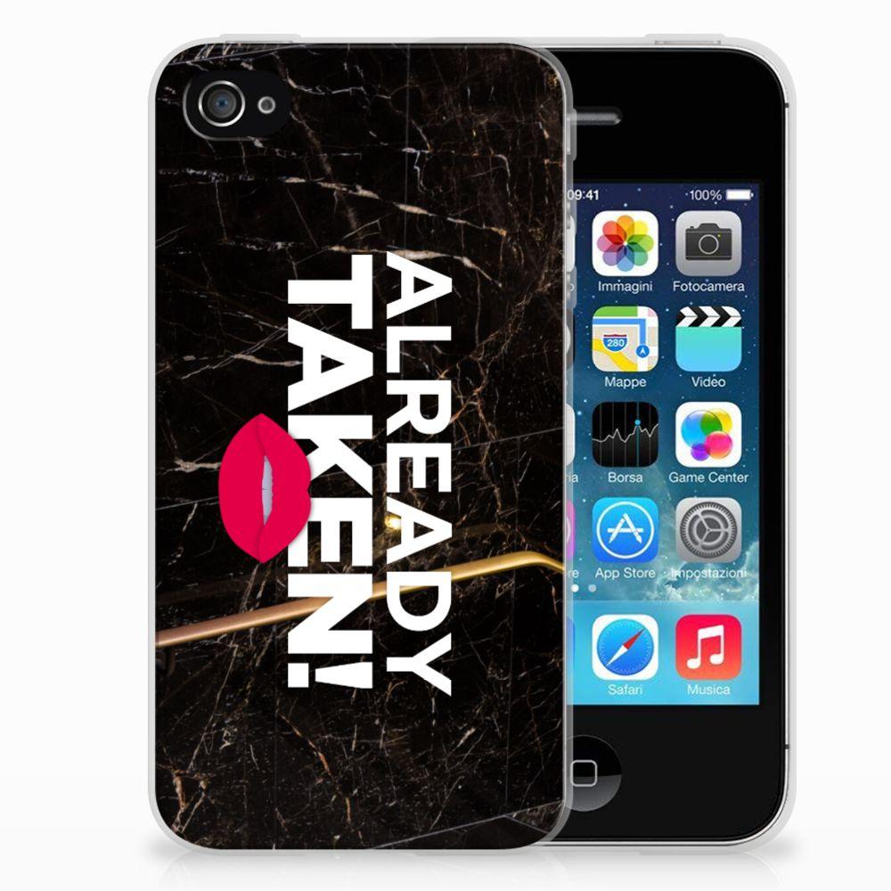 Apple iPhone 4   4s Siliconen hoesje met naam Already Taken Black