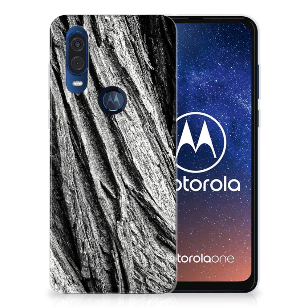 Bumper Hoesje Motorola One Vision Boomschors Grijs