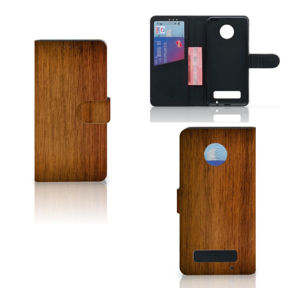 Motorola Moto Z Play Book Style Case Donker Hout