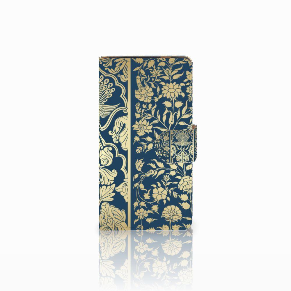 HTC Desire 601 Uniek Boekhoesje Golden Flowers