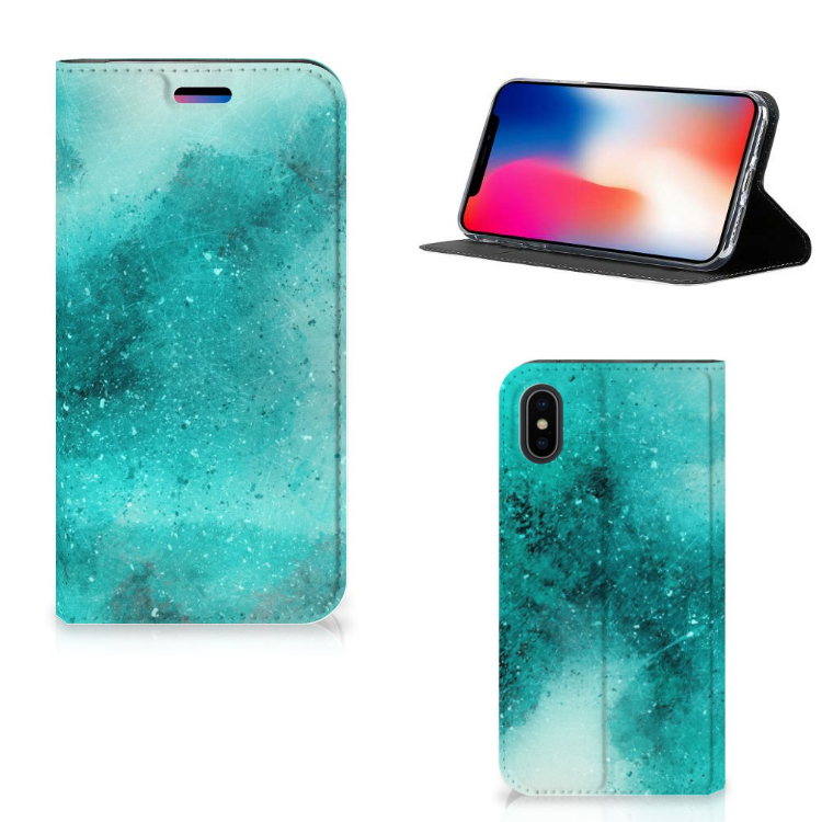 Bookcase Apple iPhone X | Xs Painting Blue