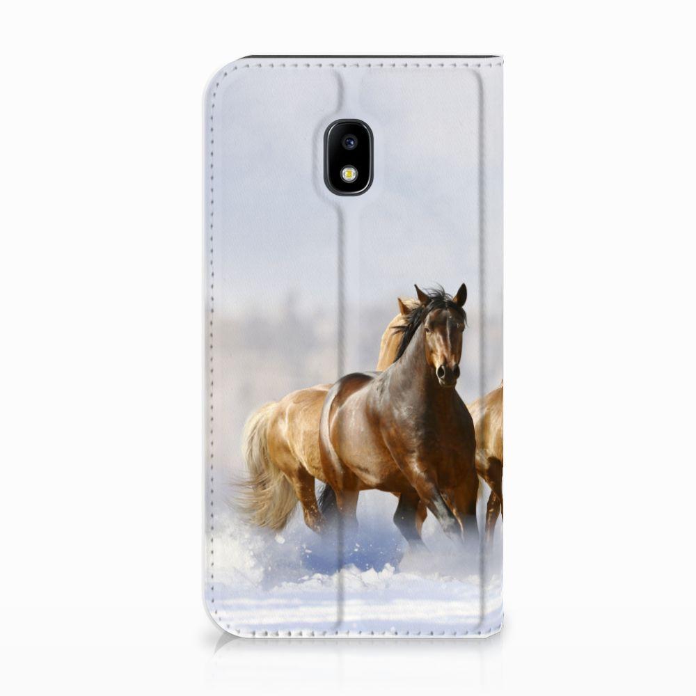 Samsung Galaxy J3 2017 Uniek Standcase Hoesje Paarden