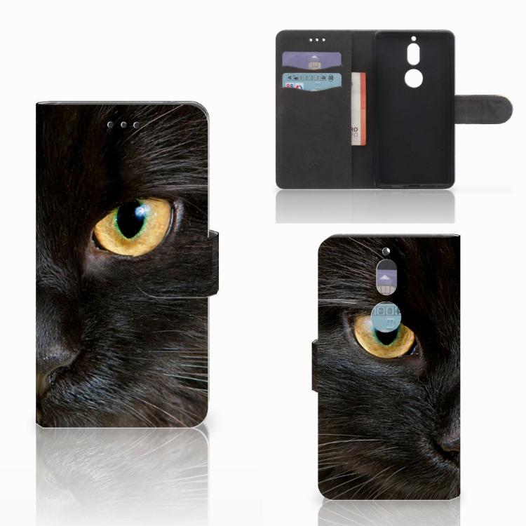 Nokia 7 Telefoonhoesje met Pasjes Zwarte Kat