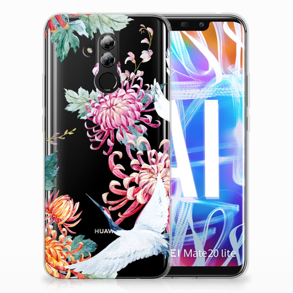 Huawei Mate 20 Lite Uniek TPU Hoesje Bird Flowers