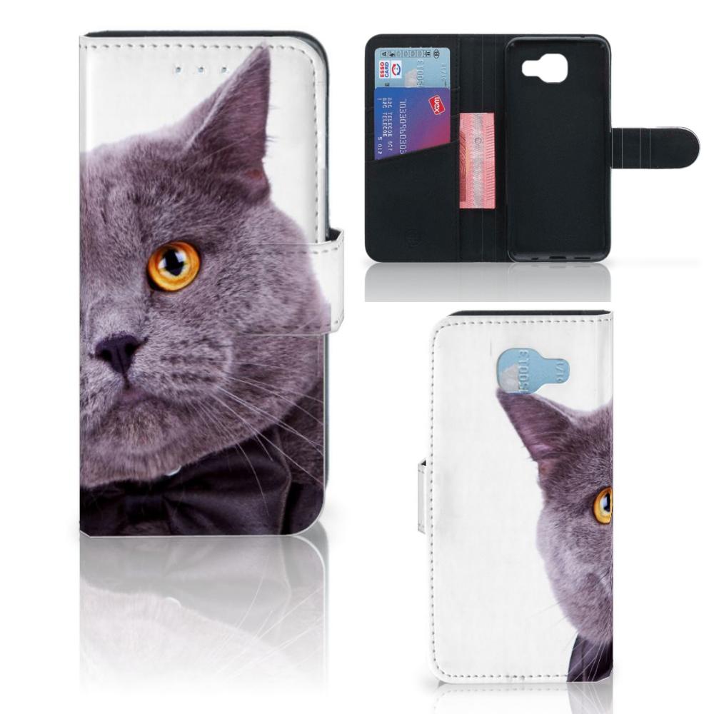 Samsung Galaxy A5 2016 Telefoonhoesje met Pasjes Kat