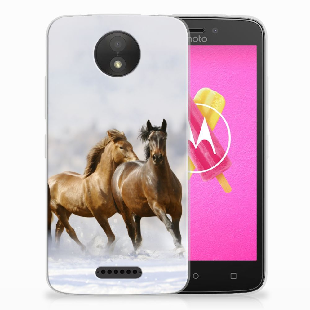 Motorola Moto C Uniek TPU Hoesje Paarden