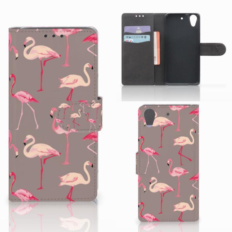 HTC Desire 626 | Desire 626s Telefoonhoesje met Pasjes Flamingo