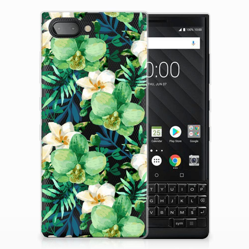 BlackBerry Key2 Uniek TPU Hoesje Orchidee Groen