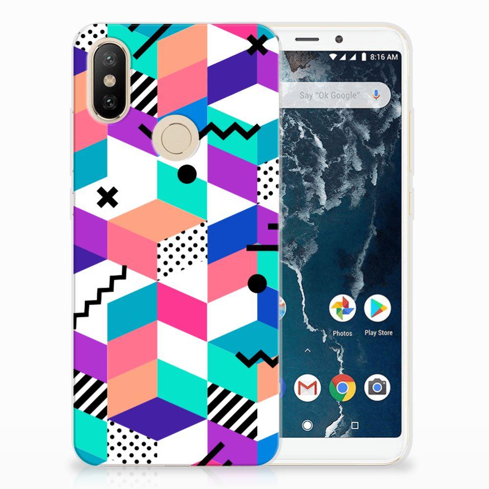 Xiaomi Mi A2 TPU Hoesje Blokken Kleurrijk