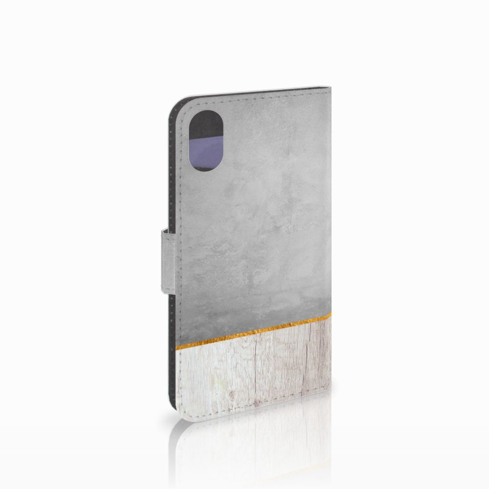 Apple iPhone X | Xs Uniek Boekhoesje Wood Concrete