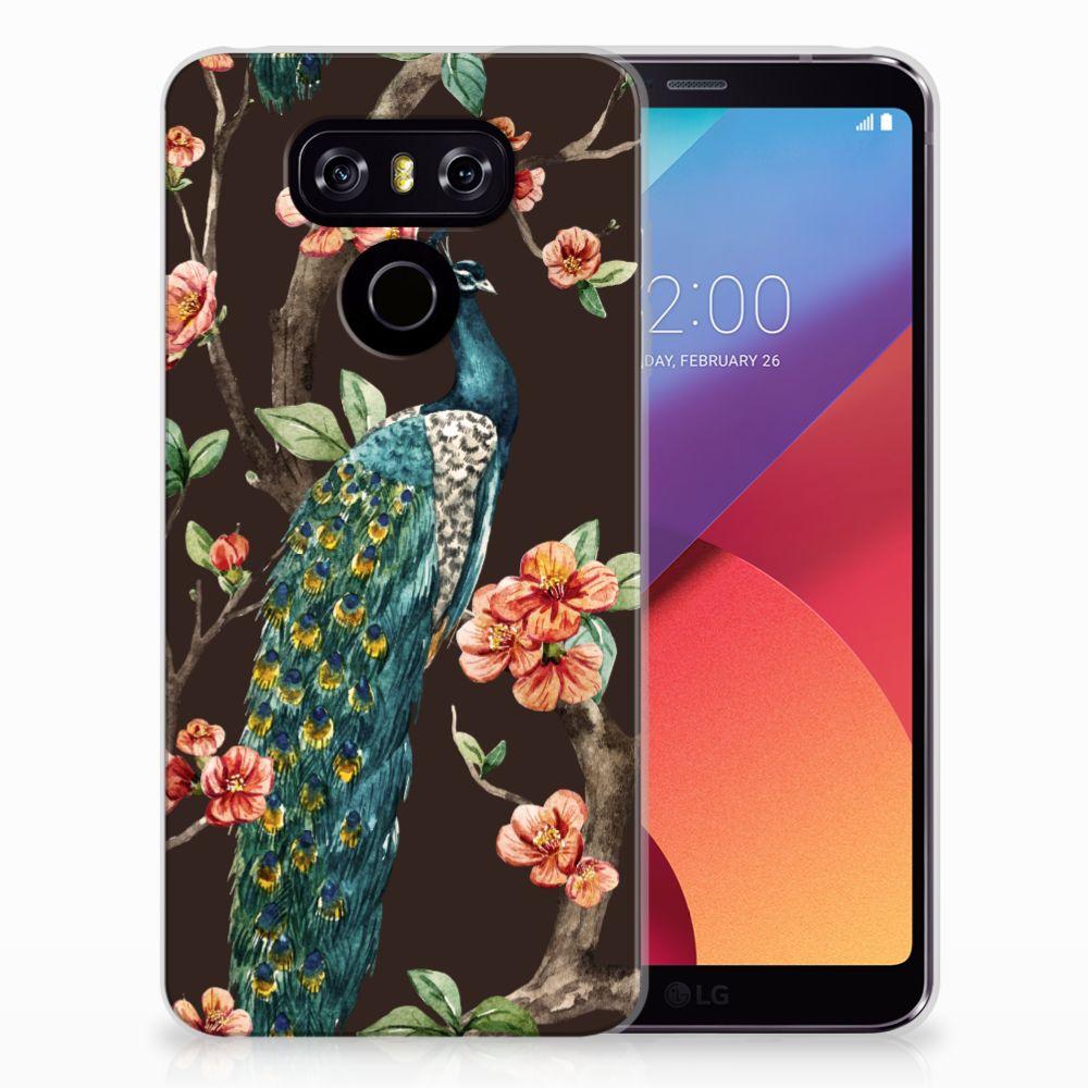 LG G6 TPU Hoesje Pauw met Bloemen