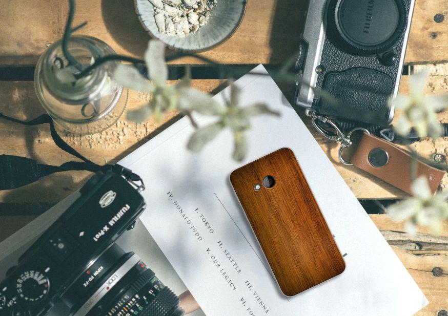 HTC U Play Bumper Hoesje Donker Hout