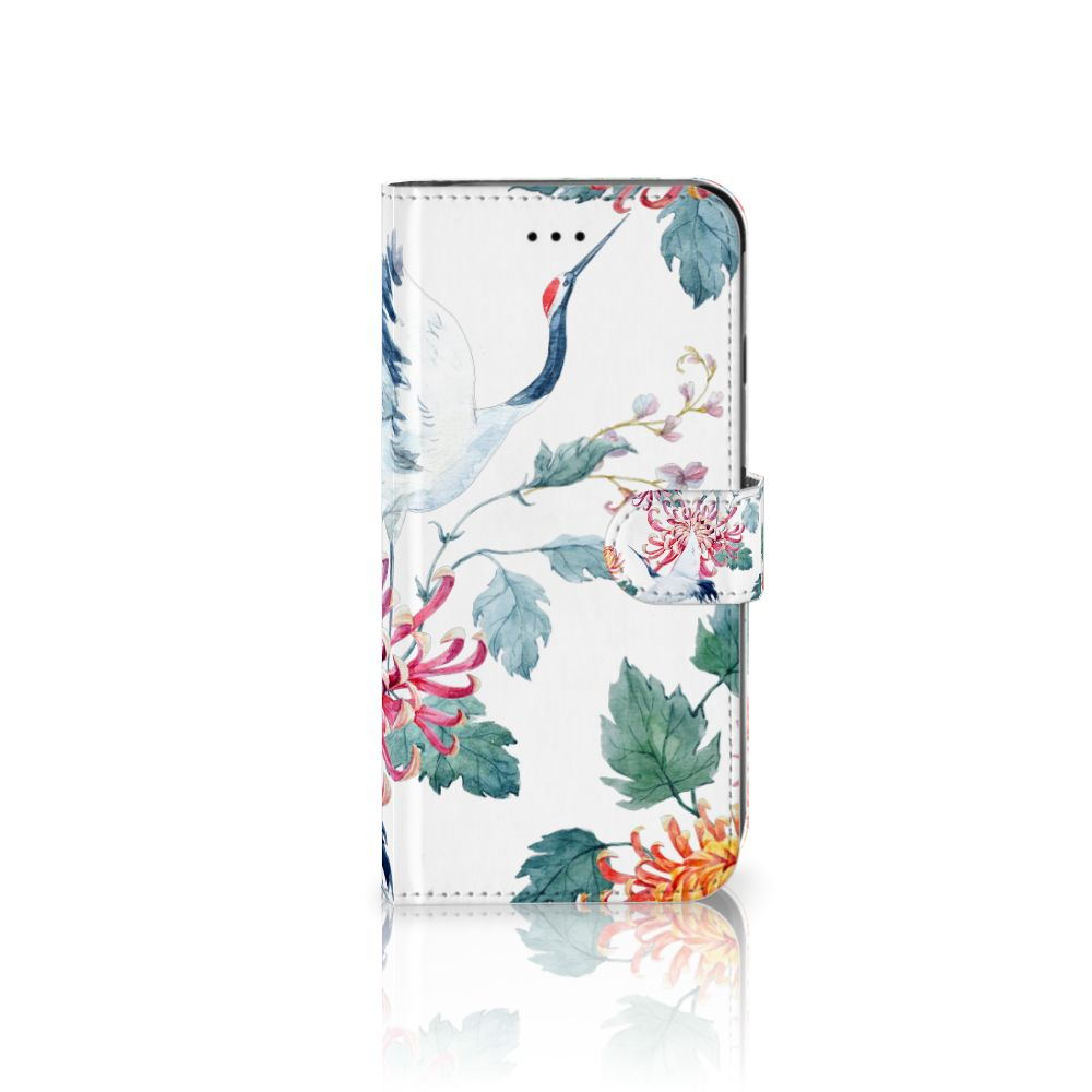 Apple iPhone 6 Plus   6s Plus Uniek Boekhoesje Bird Flowers