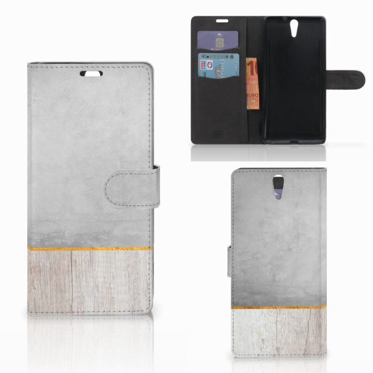 Sony Xperia C5 Ultra Book Style Case Wood Concrete