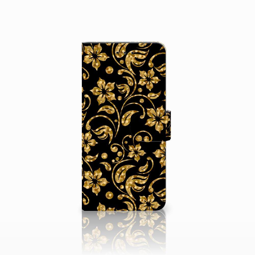 Motorola Moto E5 Plus Boekhoesje Design Gouden Bloemen