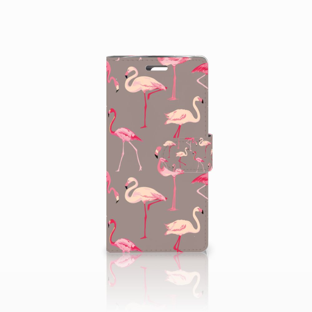 LG K10 2015 Telefoonhoesje met Pasjes Flamingo
