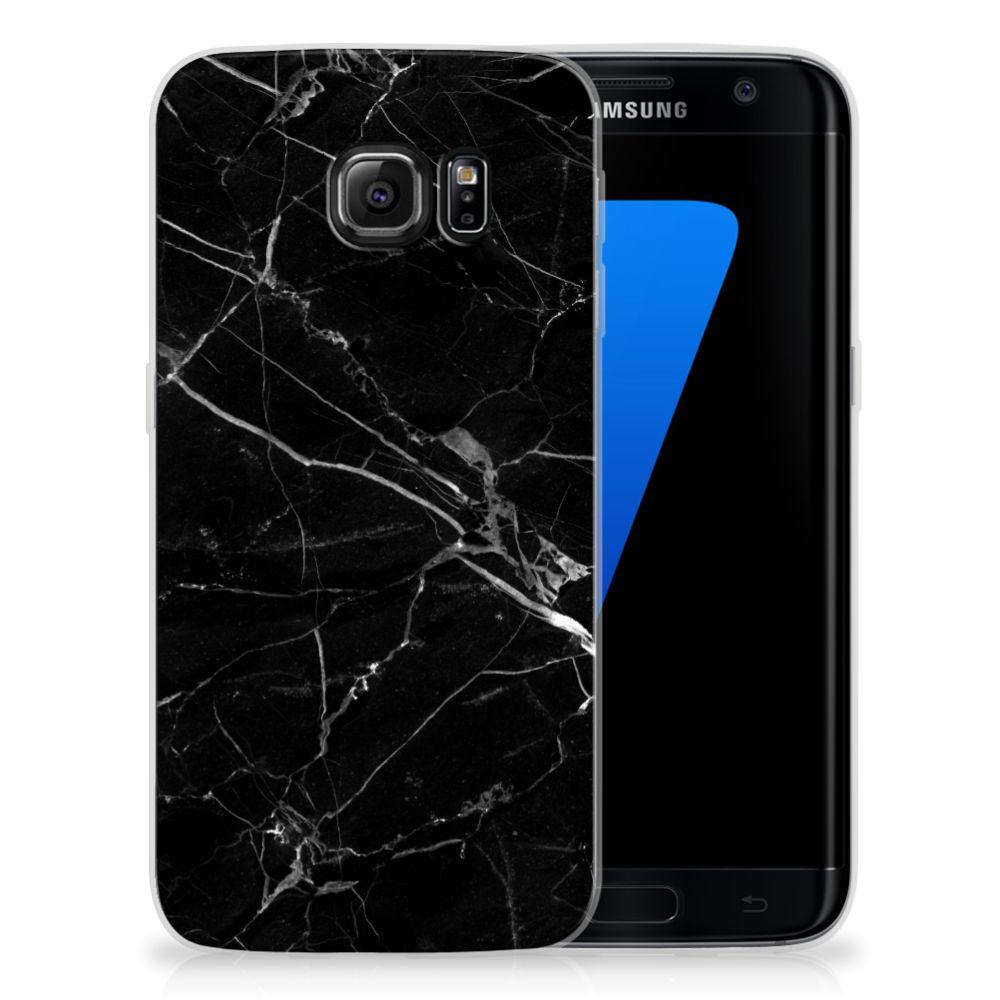 Samsung Galaxy S7 Edge TPU Siliconen Hoesje Marmer Zwart - Origineel Cadeau Vader