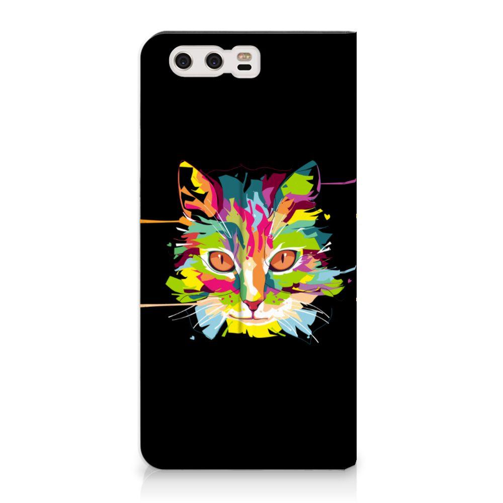 Huawei P10 Plus Uniek Standcase Hoesje Cat Color