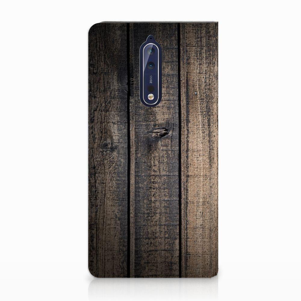 Nokia 8 Standcase Hoesje Design Steigerhout