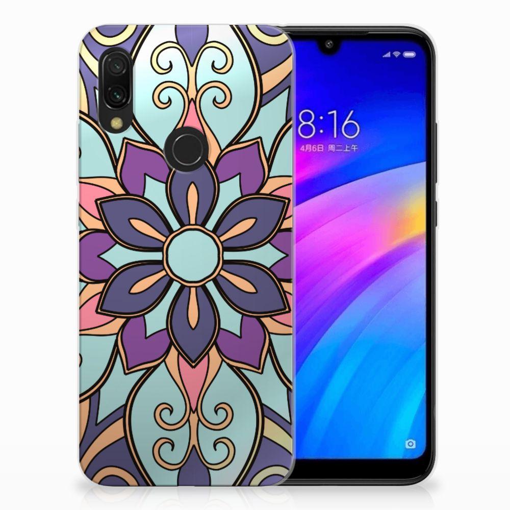Xiaomi Redmi 7 TPU Hoesje Design Purple Flower