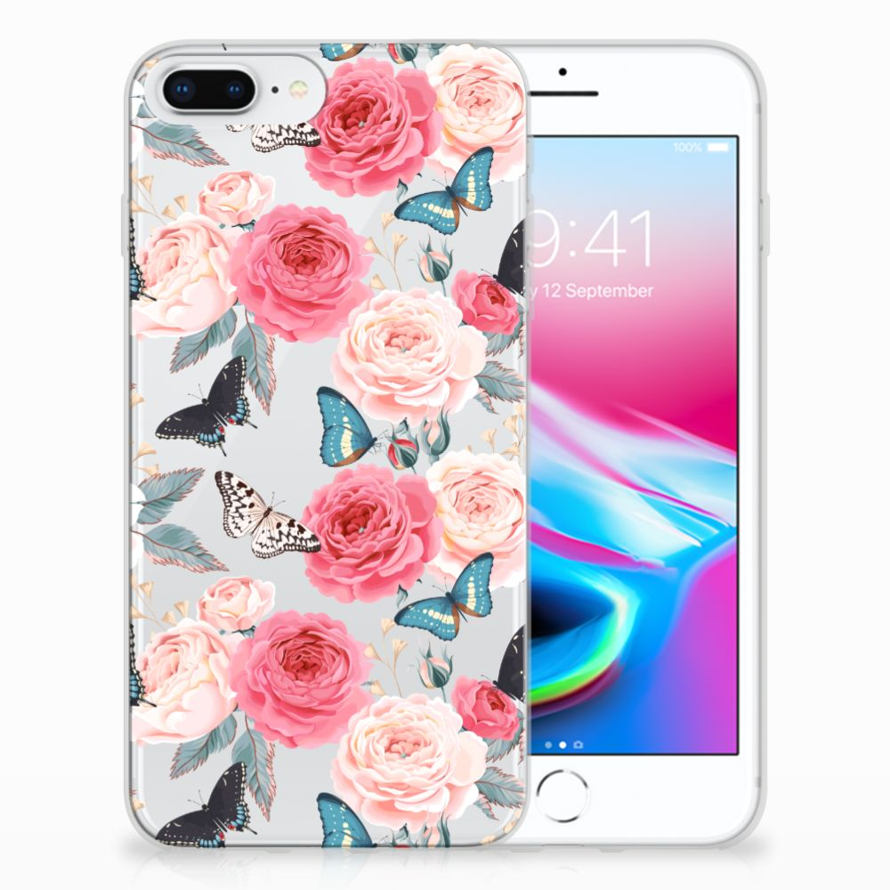 Apple iPhone 7 Plus | 8 Plus Uniek TPU Hoesje Butterfly Roses