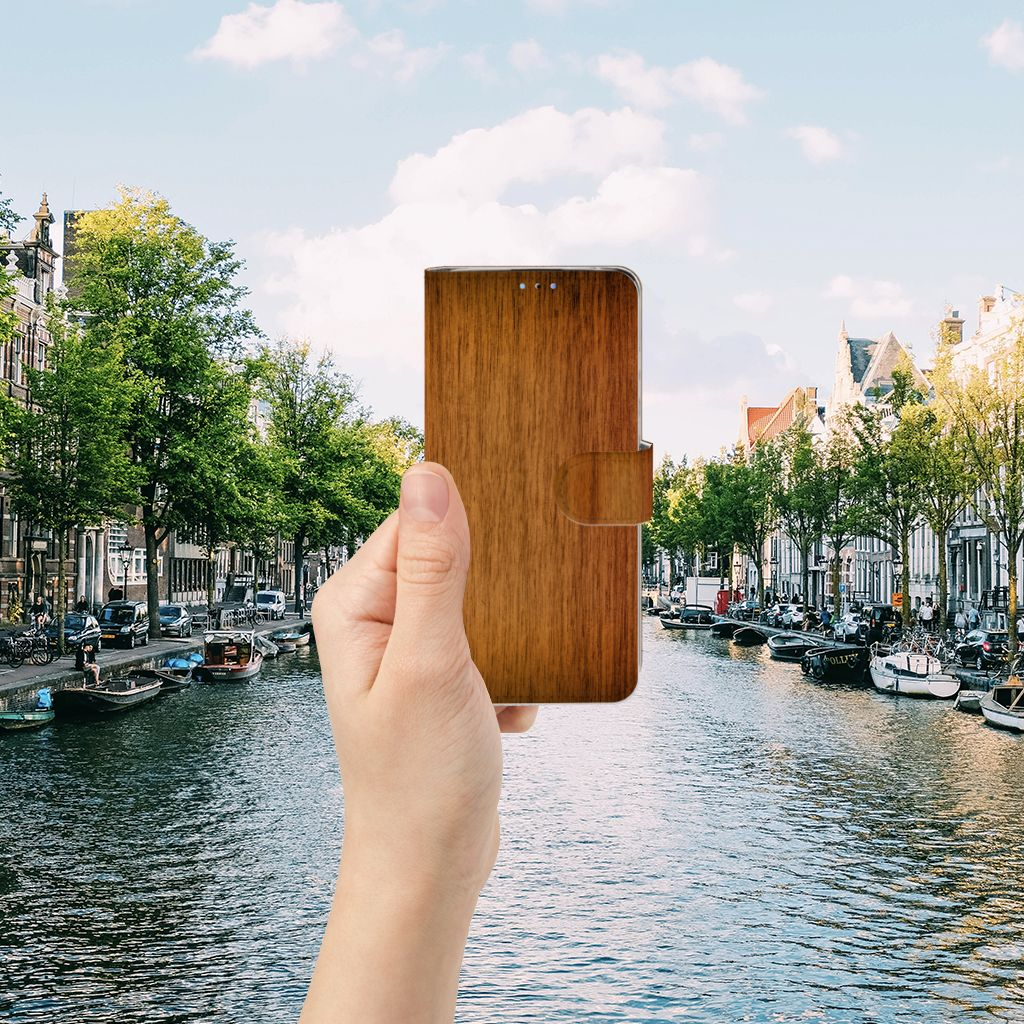 Huawei P30 Lite (2020) Book Style Case Donker Hout