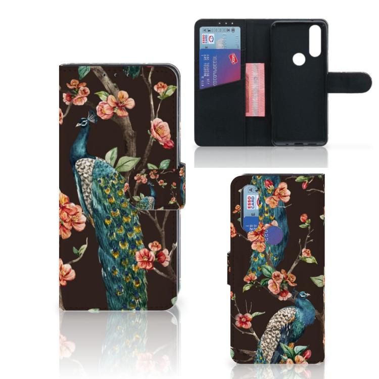 Motorola One Action Telefoonhoesje met Pasjes Pauw met Bloemen